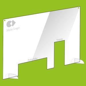 Schutzwand individuell gestaltet mit Acrylfuß